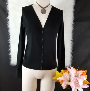 LOFT Black Button Down  V-Neck Cardigan Size M